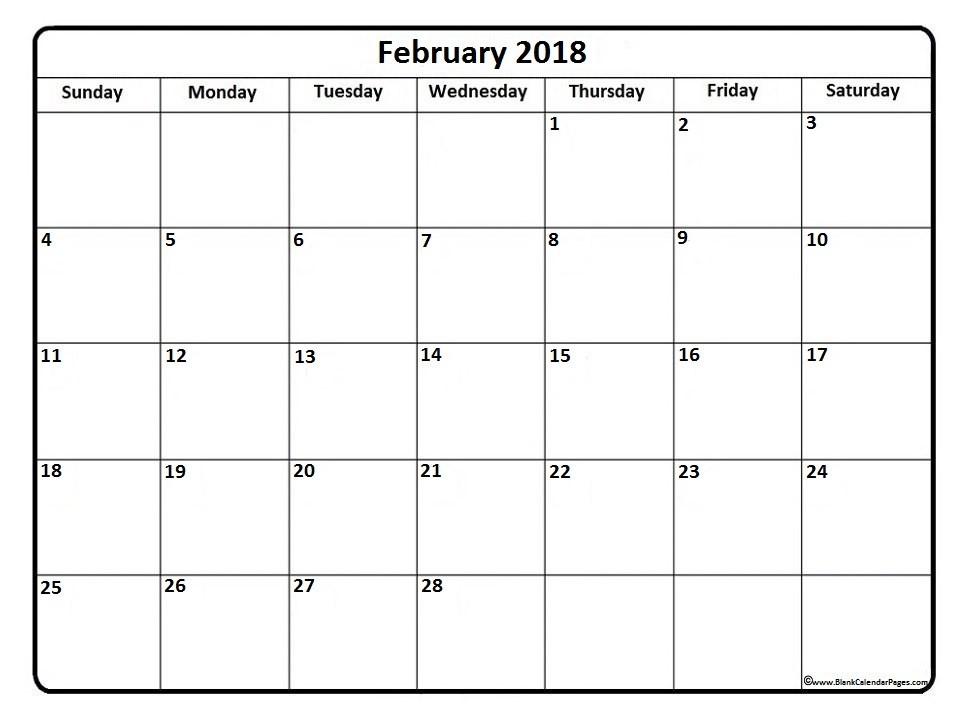 Free Printable February Calendar February 2018 Calendar