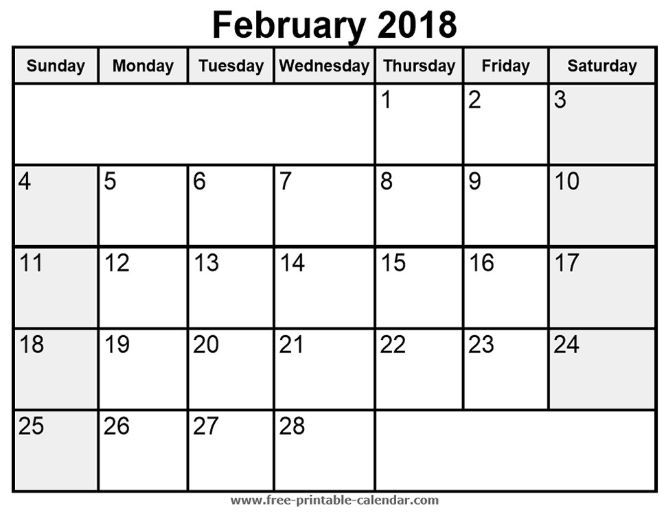 Free Printable February Calendar February 2018 Calendar Printable Templates