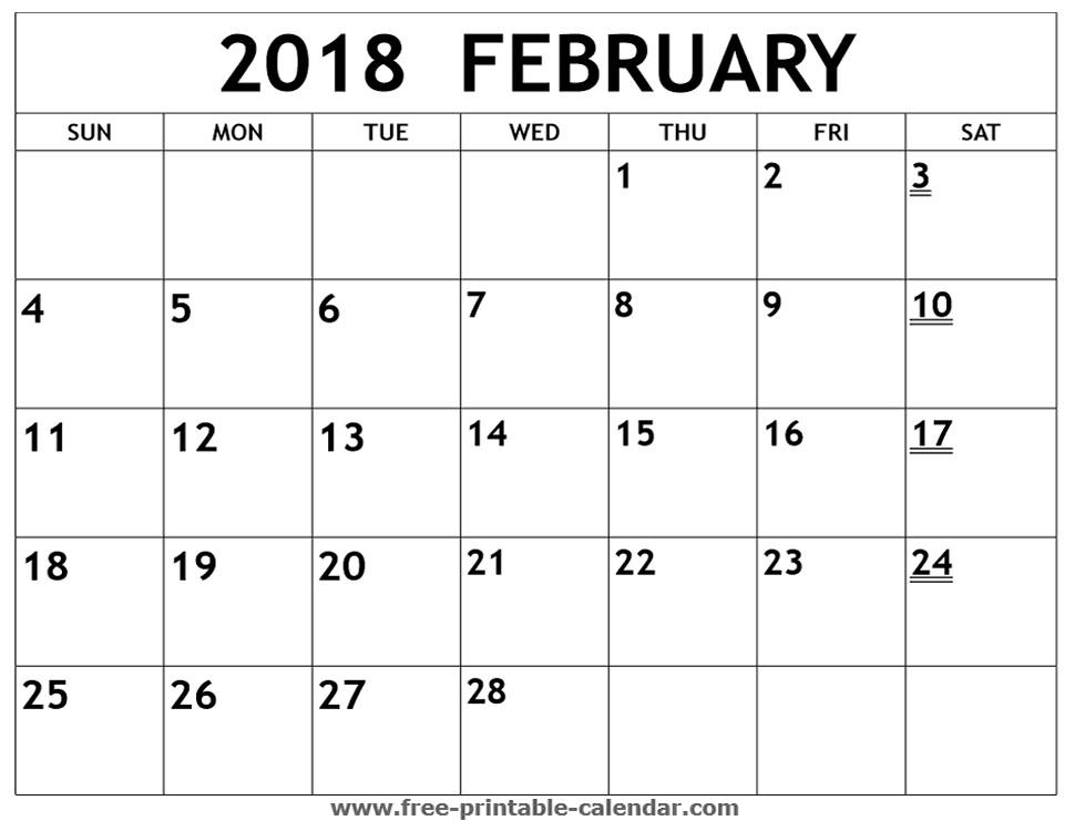 printable 2018 february calendar