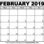 Free Printable February Calendar Printable February 2019 Calendar towncalendars