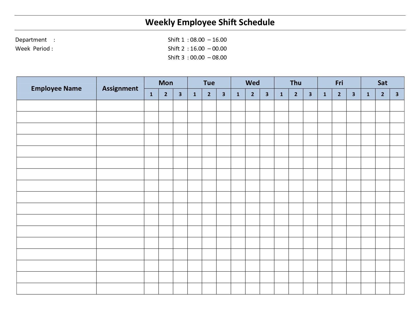 Free Printable Employee Work Schedules