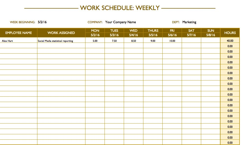 Free Printable Work Schedule Calendar Free Work Schedule Templates for Word and Excel