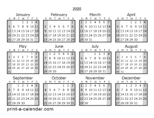 Download 2020 Printable Calendars