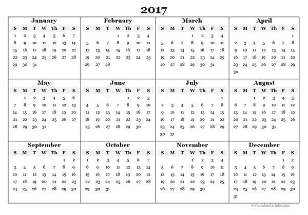 Free Yearly Printable Calendars 2017 Blank Yearly Calendar Template Free Printable Templates