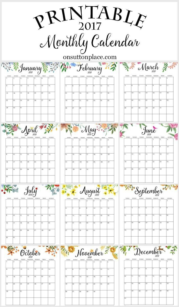 Free Yearly Printable Calendars 2017 Free Printable Monthly Calendar