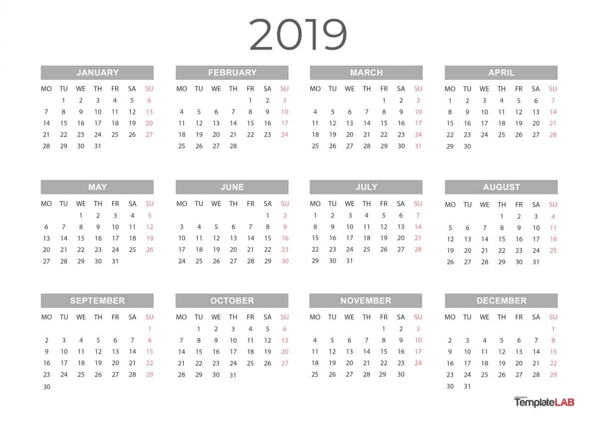 2019 Printable Calendars [Monthly with Holidays Yearly