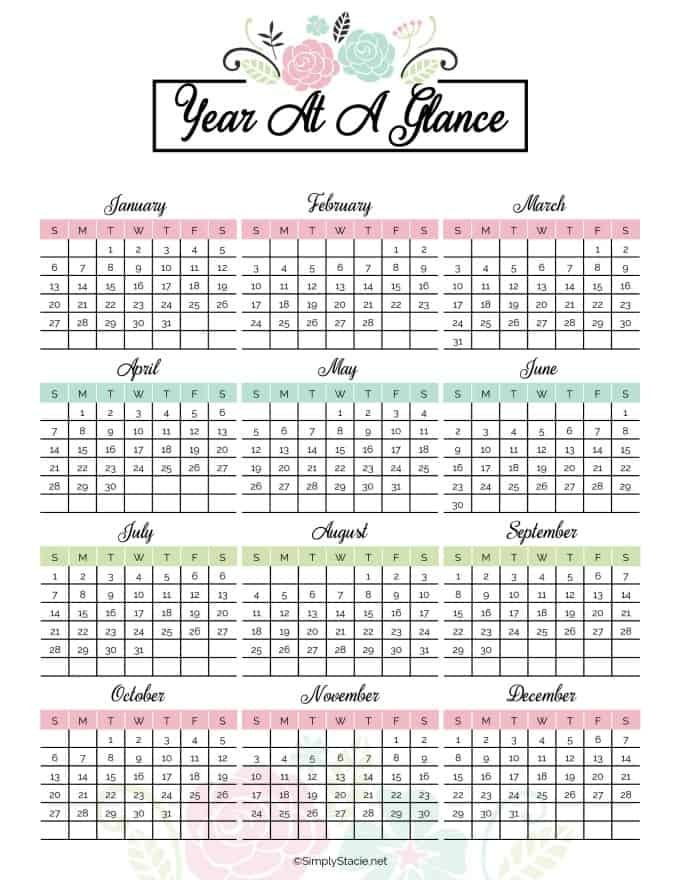 Free Yearly Printable Calendars 2019 Yearly Calendar Free Printable Simply Stacie