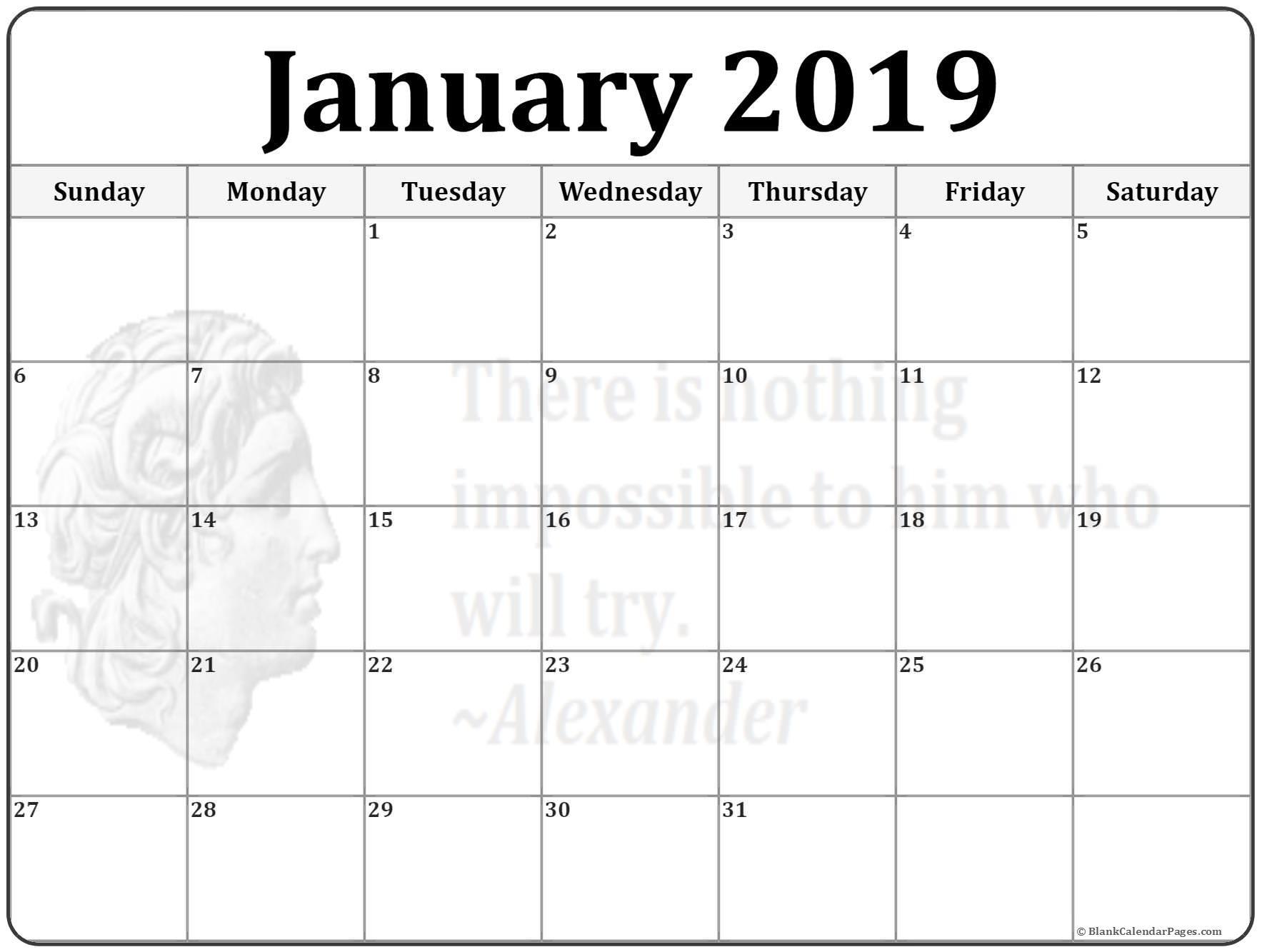 Jan 2019 Calendar Printable January 2019 Calendar