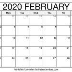 Monthly Printable Calendars 2020 Blank February 2020 Calendar Printable Beta Calendars