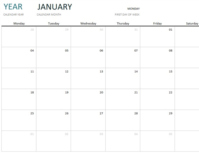 Any year one month calendar