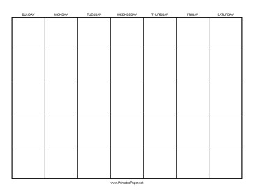 Printable Calendar 1 Month by Day