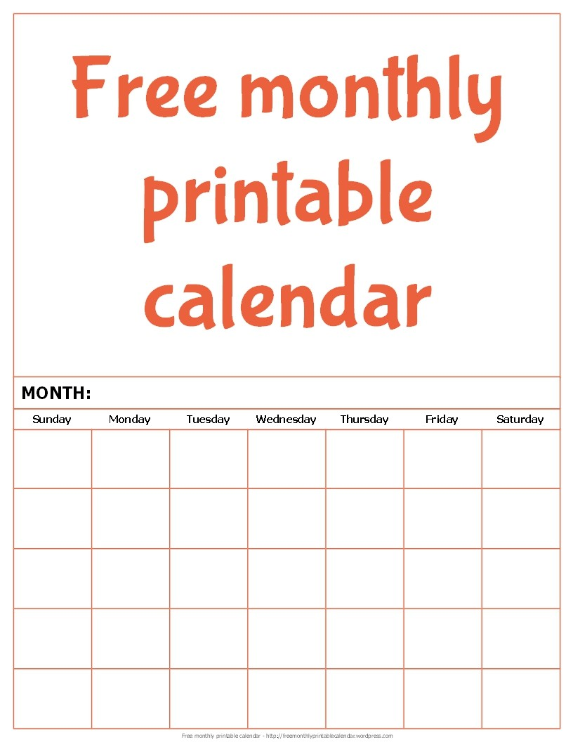 Online Printable Monthly Calendar Free Monthly Printable Calendar