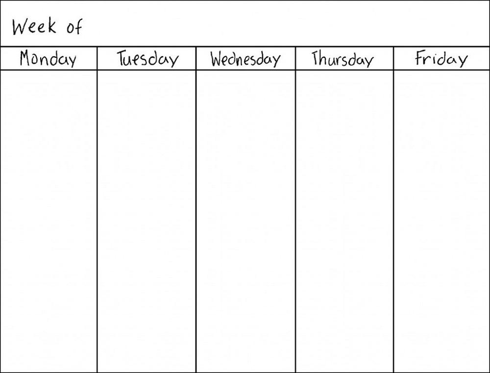 Printable 5 Day Calendar Blank Weekly Calendars Printable