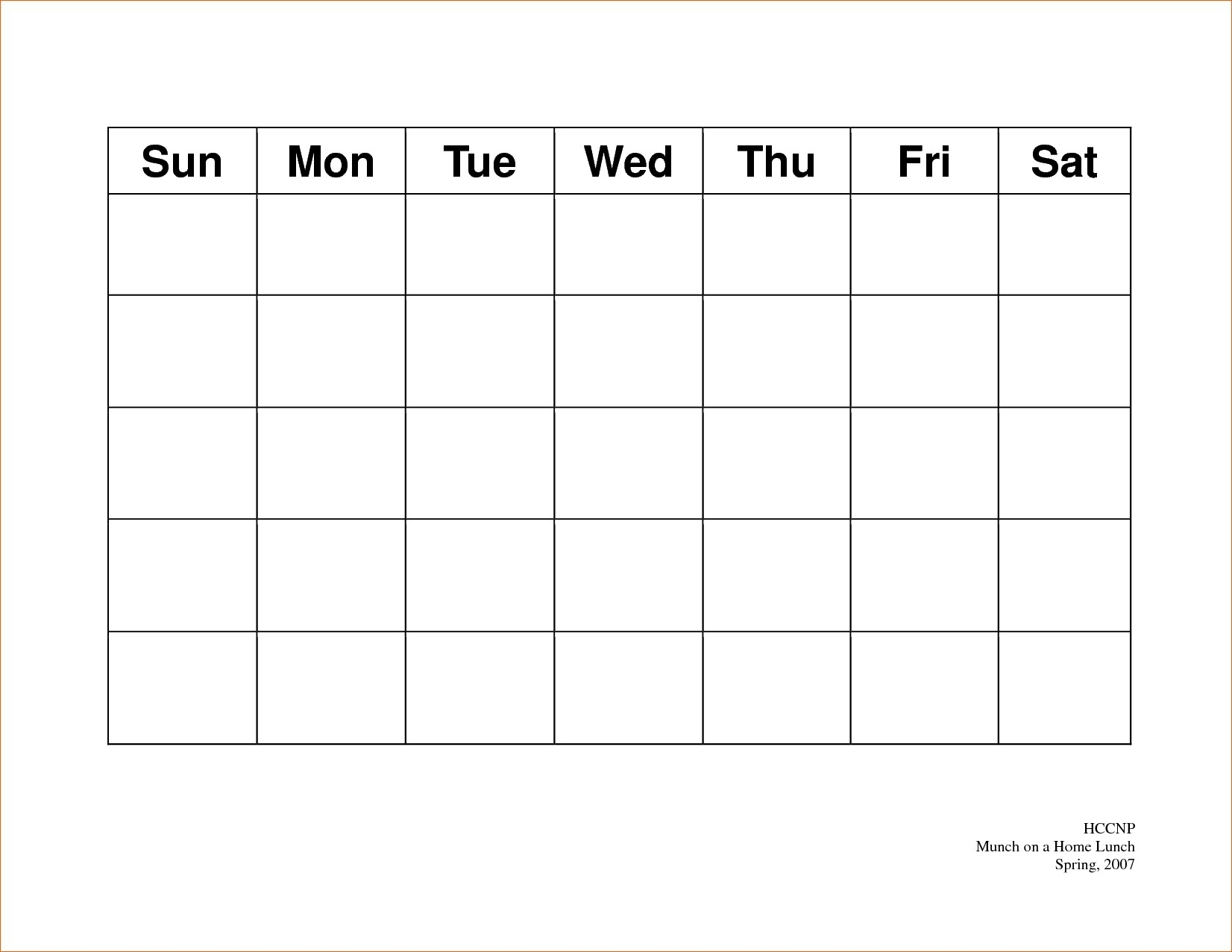 Printable 5 Day Calendar Free Printable 5 Day Monthly Calendar 2018 – Template