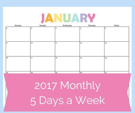 Printable 5 Day Calendar Printable Calendar 5 Day Calendar 5 Day Weekly Planner