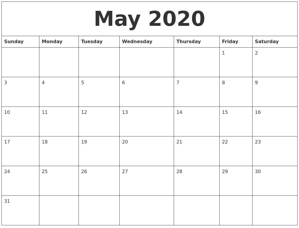 Printable and Editable Calendar 2020 May 2020 Calendar Month
