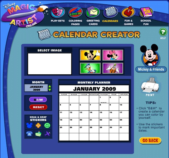 Disney s Calendar Creator