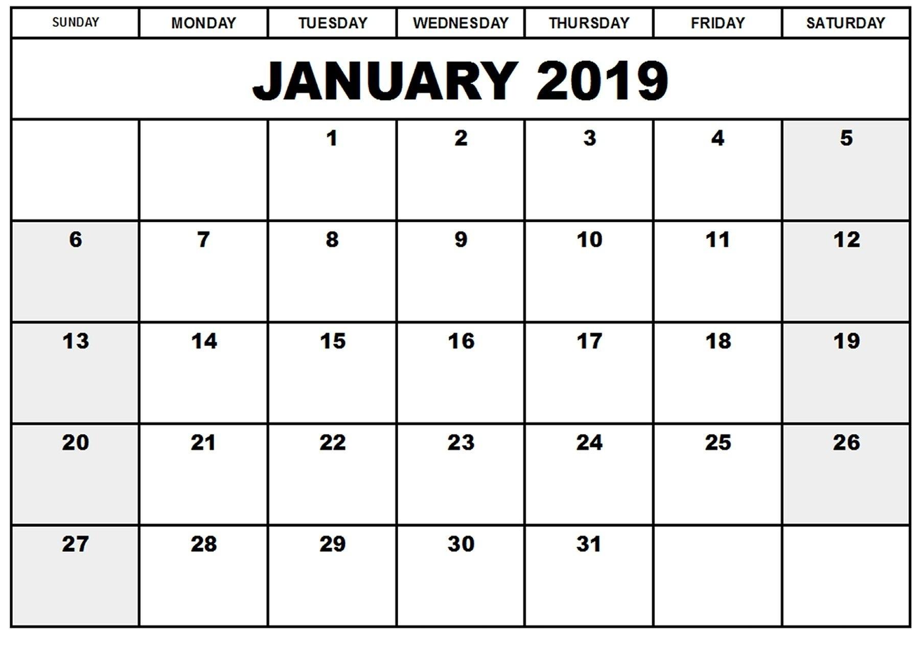 Printable Google Calendar 2019