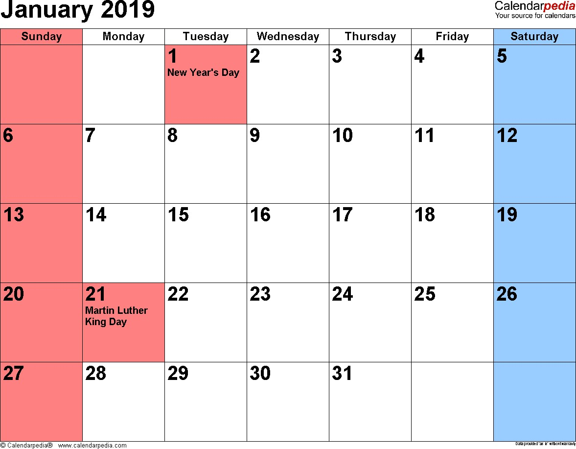 January 2019 Calendars for Word Excel & PDF
