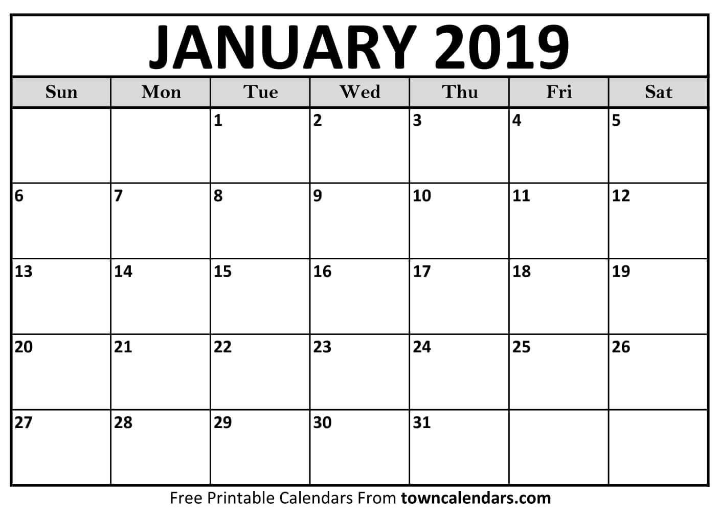 Printable Calendar January 2019 Printable January 2019 Calendar towncalendars
