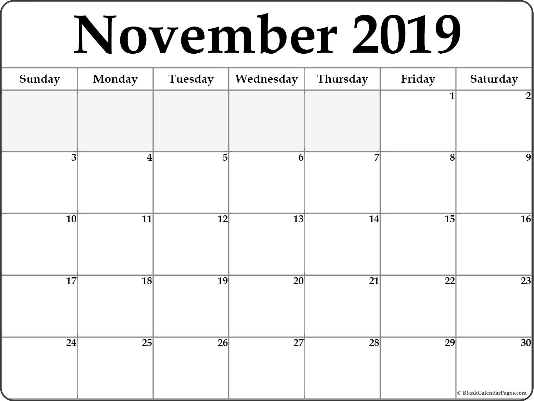 Printable Calendar November 2019 November 2019 Blank Calendar Collection