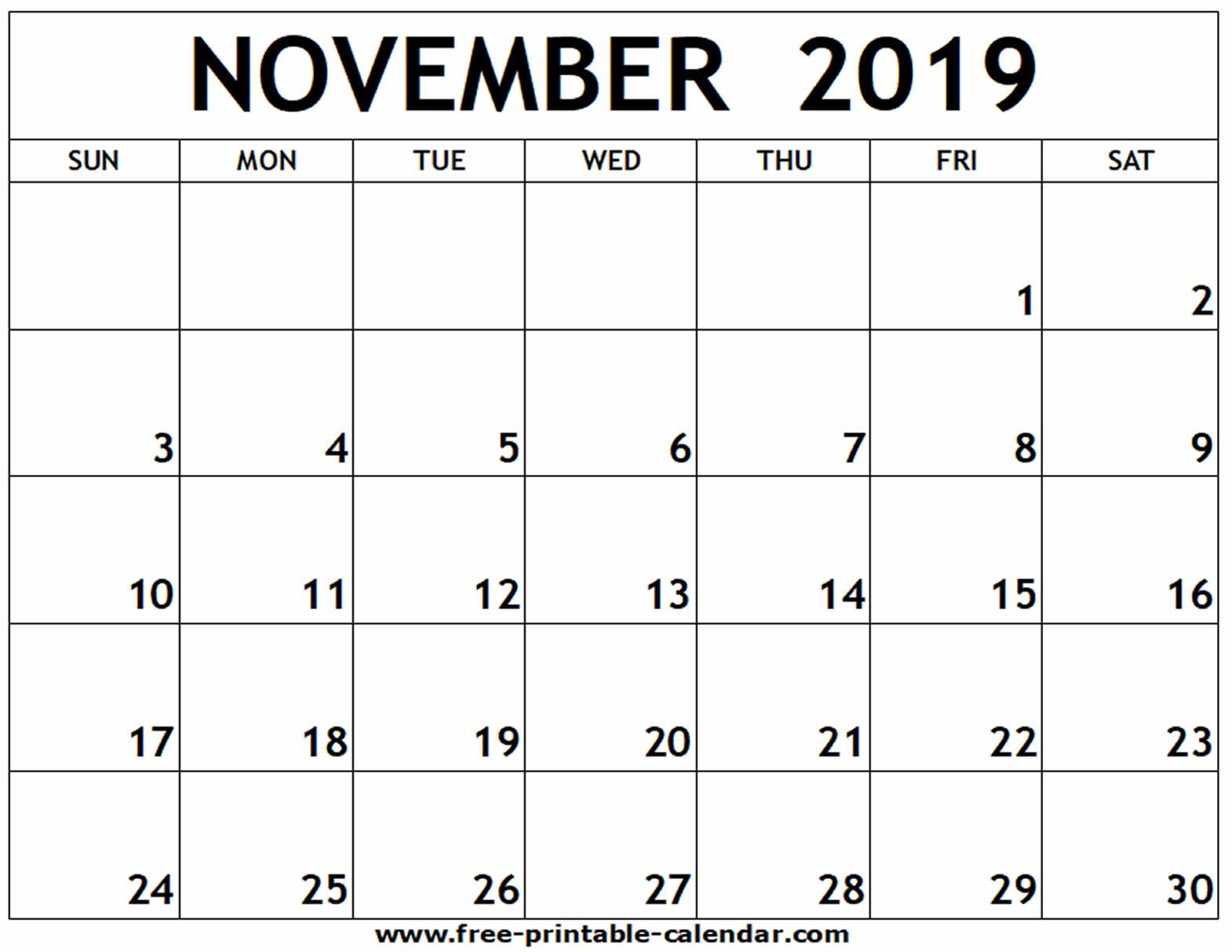 November 2019 Printable Calendar Free printable calendar