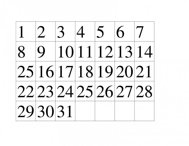 Printable Calendar Numbers Printable Calendar Numbers 1 31 Free Calendar Template
