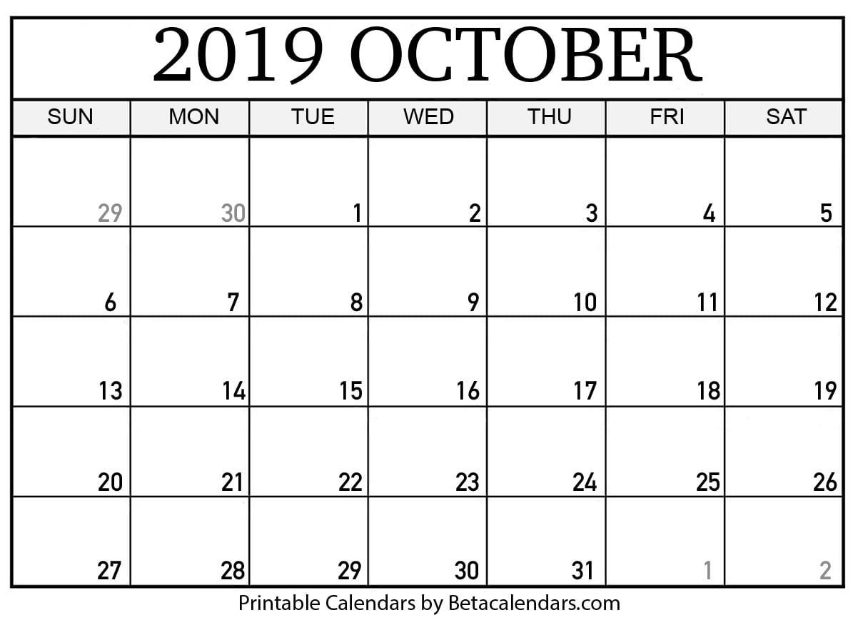 Printable Calendar October 2019 Blank October 2019 Calendar Printable Beta Calendars