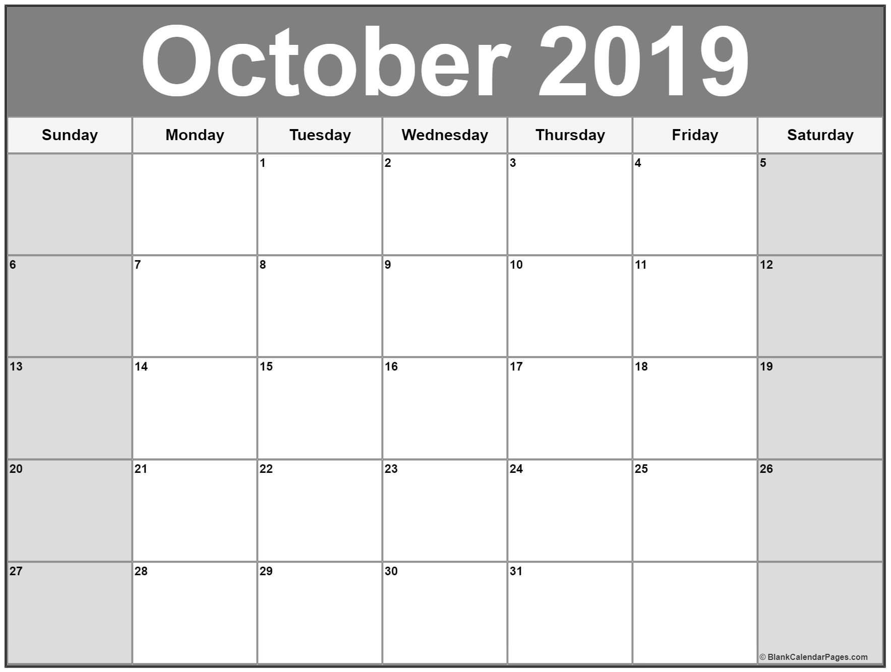 Printable Calendar October 2019 October 2019 Calendar