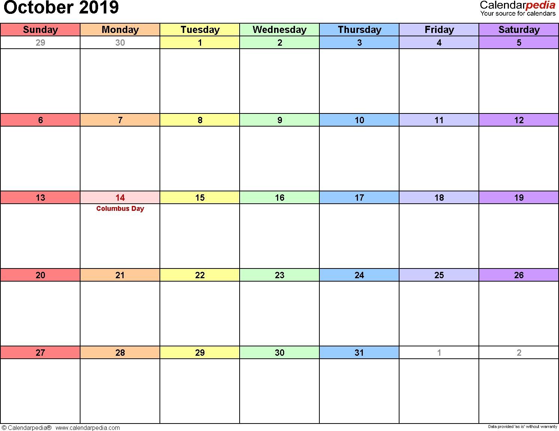 Printable Calendar October 2019 October 2019 Calendars for Word Excel & Pdf