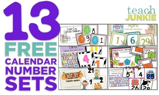 13 Printable Calendar Numbers Free Download Sets Teach