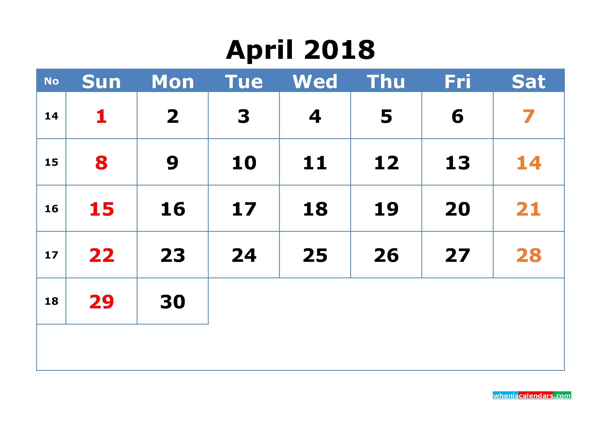 Printable Calendar with Week Numbers April 2018 Calendar with Week Numbers Printable