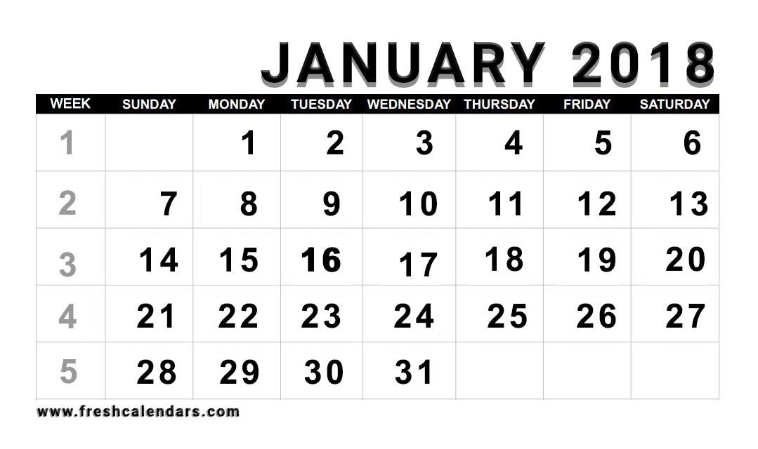 Printable Calendar with Week Numbers Blank January 2018 Calendar Printable Templates