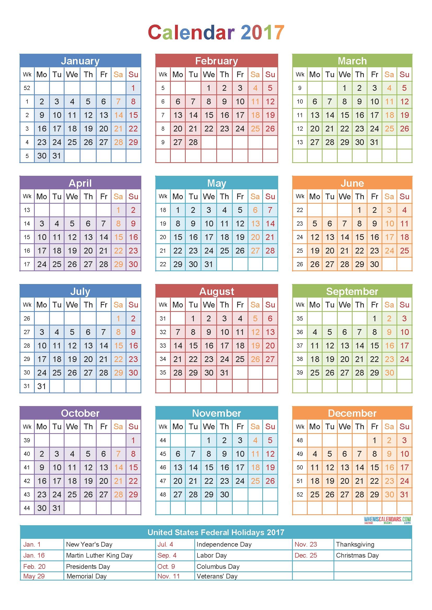 calendar 2017 by week number Holidays