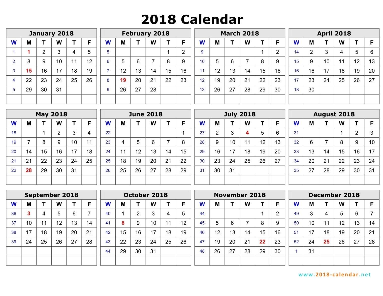 Week Number Calendar 2018 – yearly calendar printable