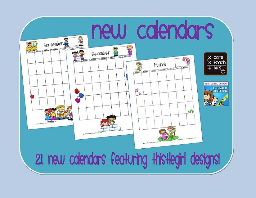Printable Calendars for Teachers 2care2teach4kids New Programmable Printable Calendars for