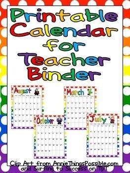 Printable Calendars for Teachers