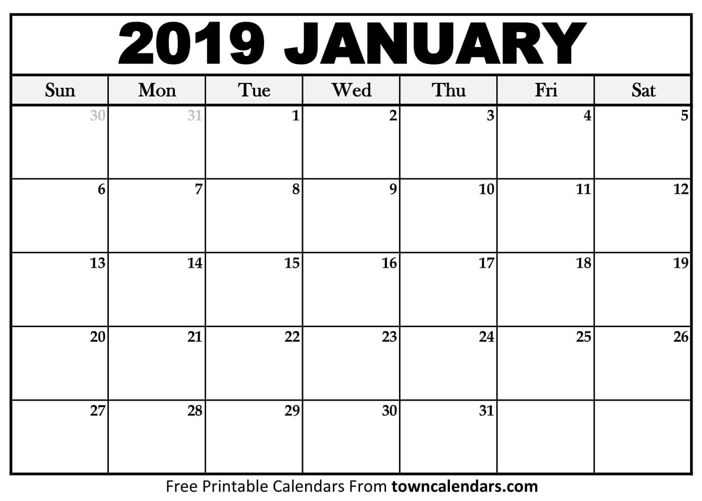 Printable January 2019 Calendar towncalendars
