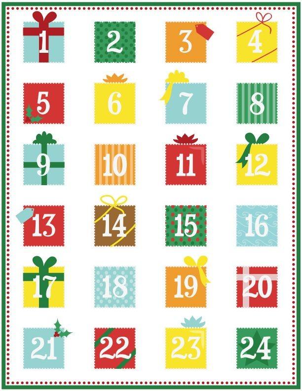 Printable Advent Calendar Page 1 CHRISTMAS