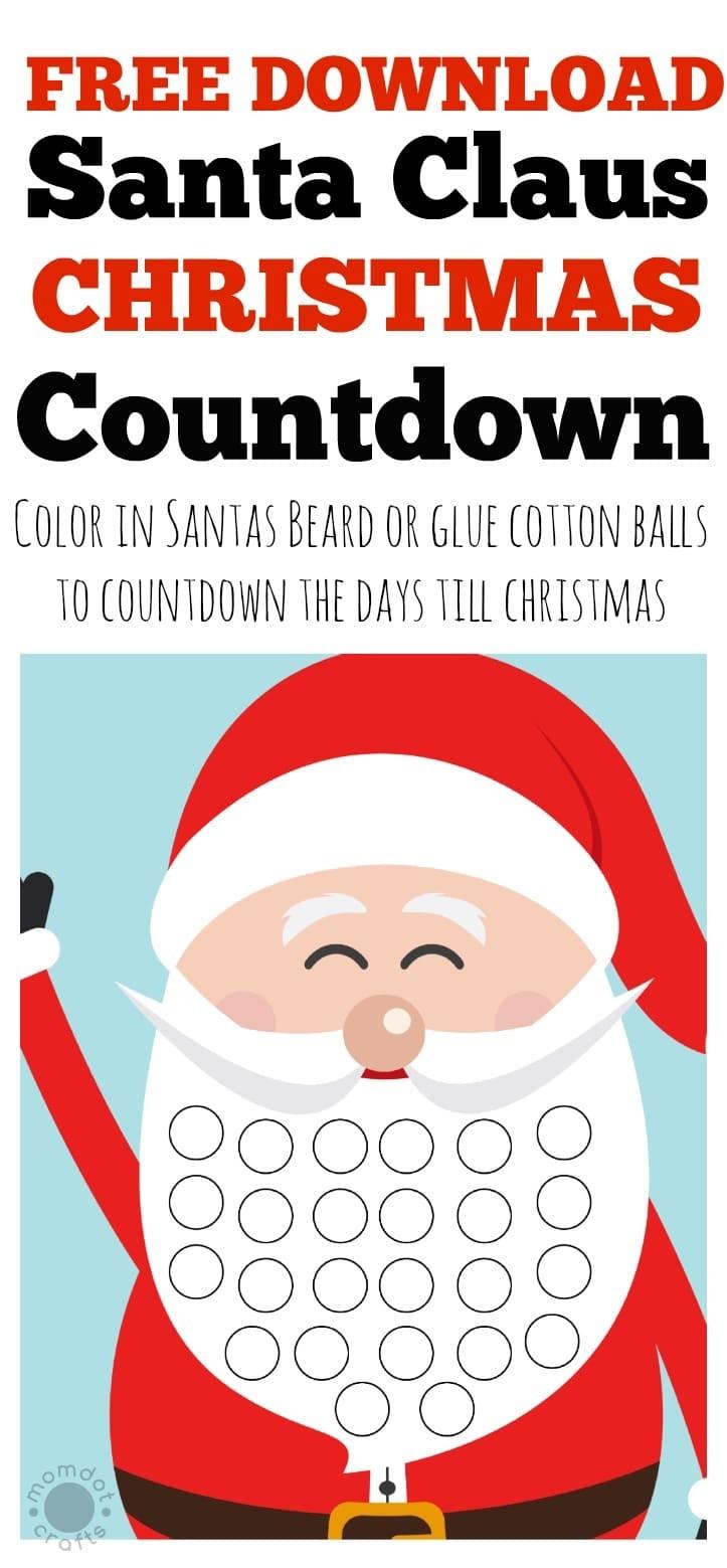 Printable Christmas Countdown Calendar for Kids Free Christmas Countdown Calendar