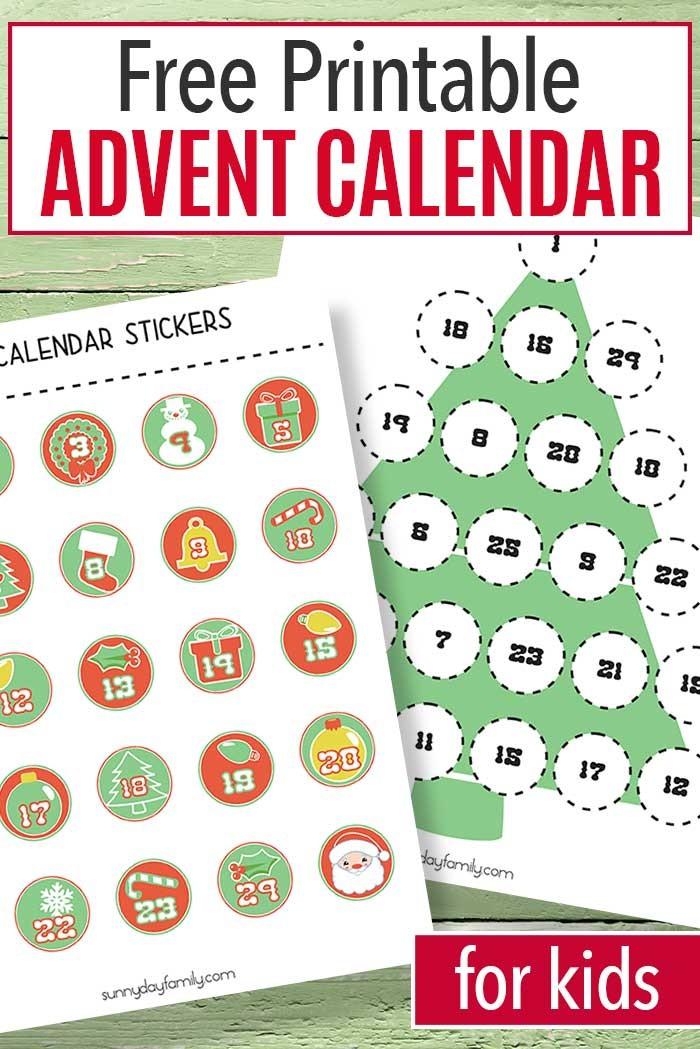 Printable Christmas Countdown Calendar for Kids Free Printable Advent Calendar for Kids
