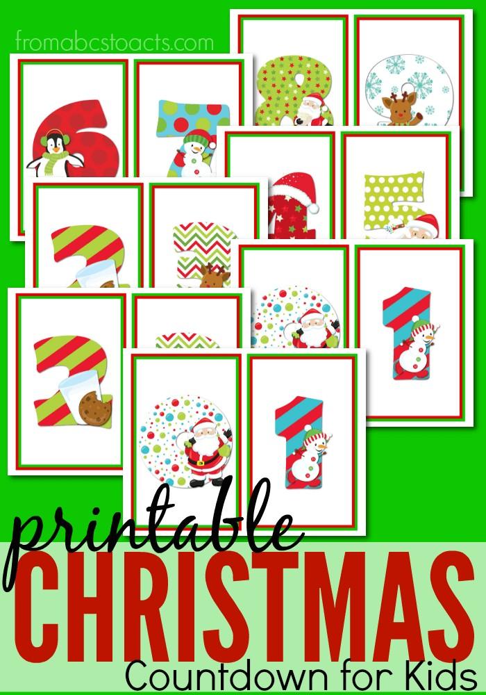 Printable Christmas Countdown Calendar for Kids Printable Christmas Countdown for Kids