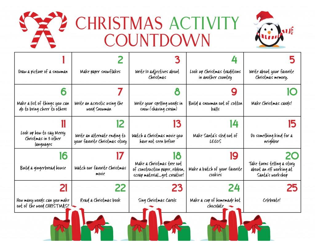 Printable Christmas Countdown Calendar for Kids Ultimate Christmas Calendar Countdown Kids Will Love