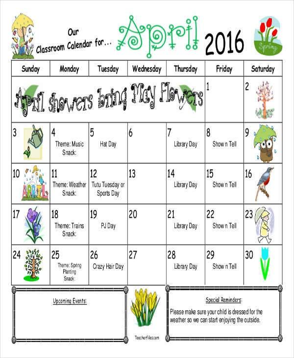Printable Classroom Calendar 8 Classroom Calendar Templates – Examples In Pdf