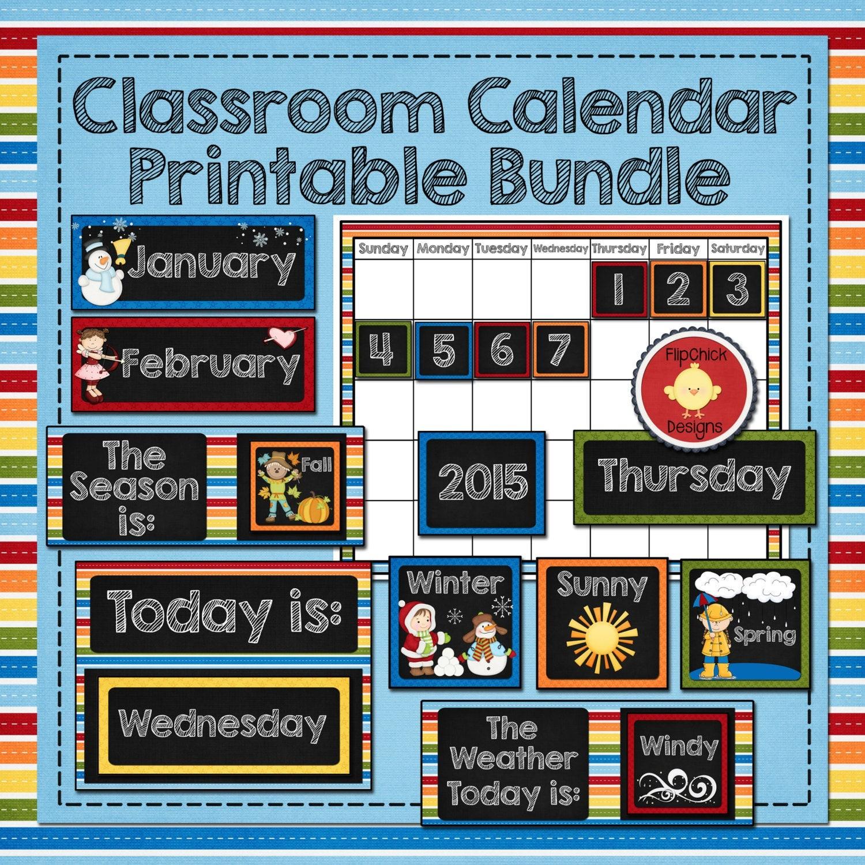 Classroom Calendar Printable Bundle