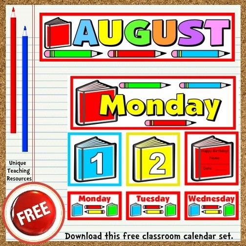 Printable Classroom Calendar Free Printable August Classroom Calendar for School Teachers