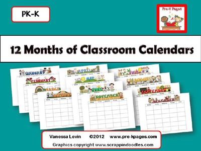 Printable Homework Calendars Preschool