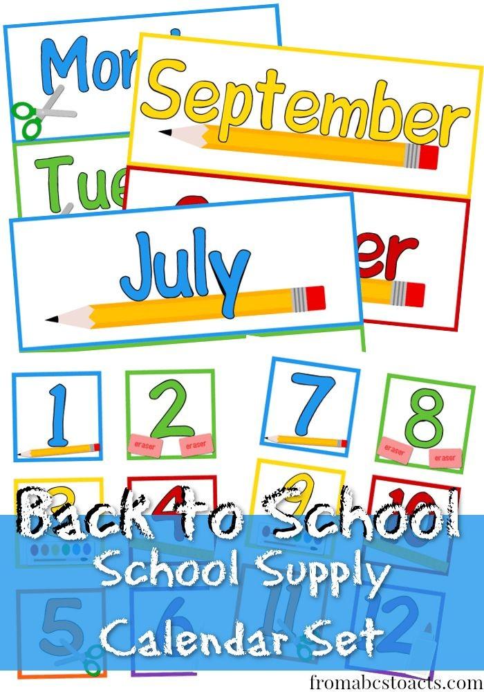 Printable School Supply Calendar Set