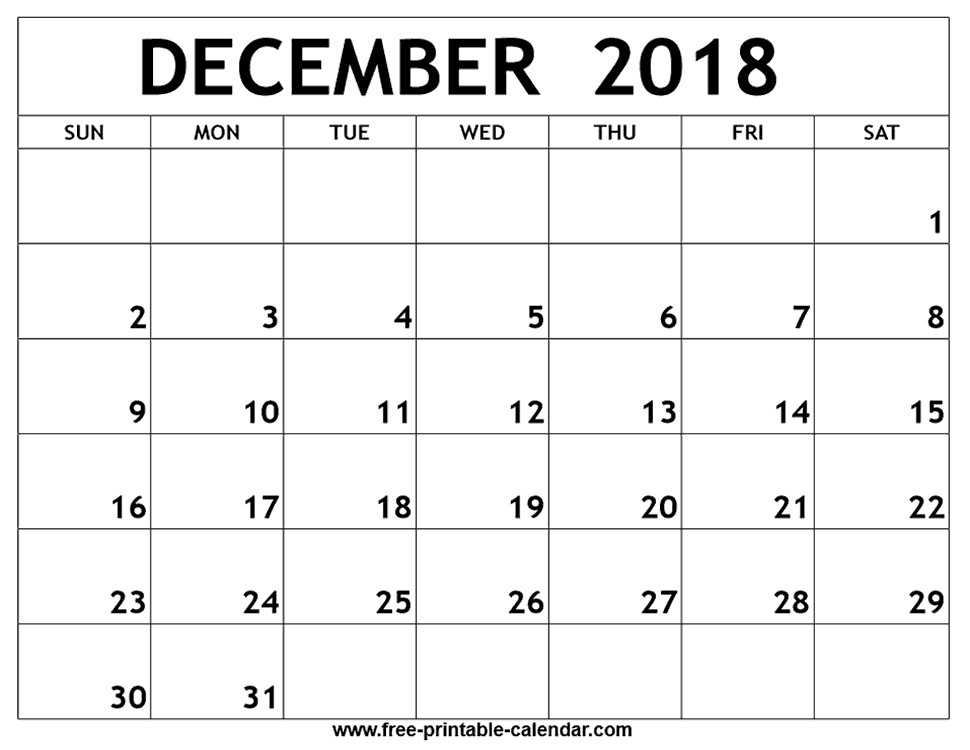 Printable December Calendar December 2018 Printable Calendar