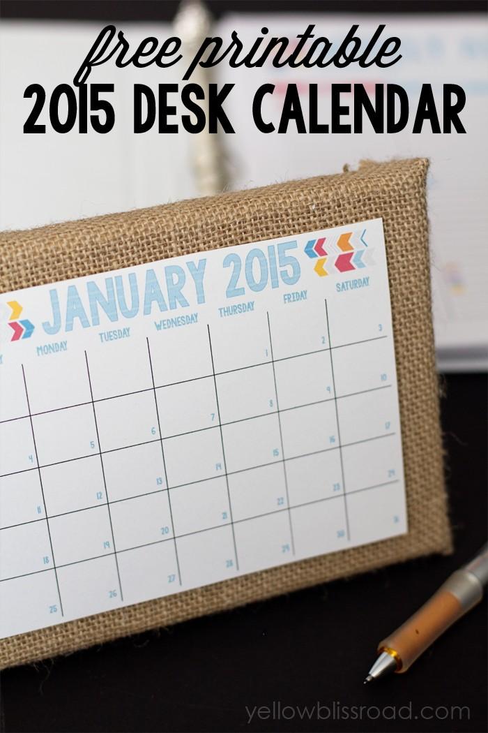 Printable Desk Calendar 2015 Free Printable Calendar